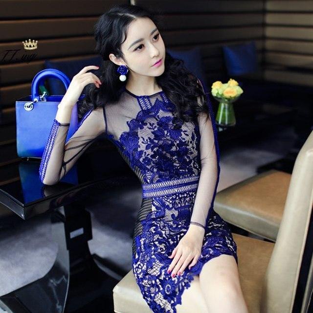 50b48bd2bc50 Ebay Hot! Spring women's self portrait hydrotropic lace long-sleeve elegant  dress S/M/L/XL/2XL