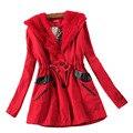 5 cores! Trench Coat 2014 casaco de inverno mulheres imitação lã de carneiro lapela dupla peito magro meados longo casaco Outerwear feminino