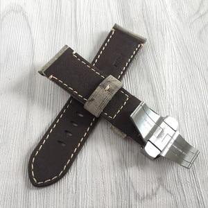 Image 3 - 24mm artesanal costurado couro de bezerro genuíno pulseira de relógio para implantação fivela pulseira para pam enviar também