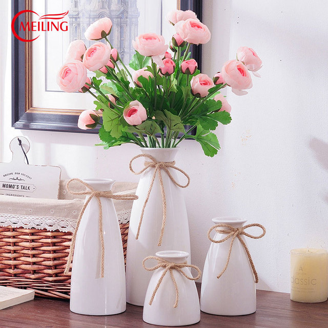 Tall White Ceramic Flower Ornamental Vase Glazed Decoration Home