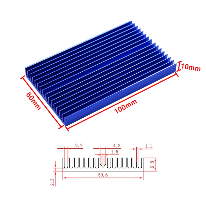 New Heat sink 100 60 10mm DIY IC Heat sink Aluminum Cooling Fin in Laptop Cooling Pads from Computer Office