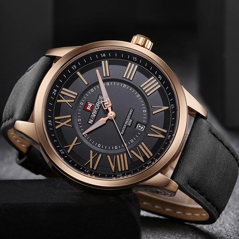 NAVIFORCE Brand Men Analog Quartz Wristwatches Leather Waterproof Sports Watches Men's Casual Watch Clock Male Relogio Masculino цена 2017