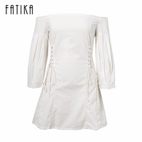 FATIKA 2017 Women Fashion Lantern Sleeve Mini Dresses Autumn Winter Ladies Sexy Strapless Lace Up Sexy
