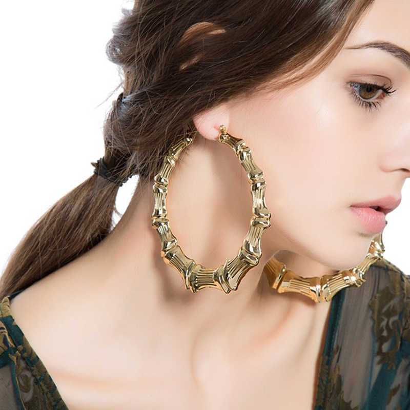 Big hip hop bamboo hoop earrings punk gold plate hot sale circle earrings for women 100mm ER006