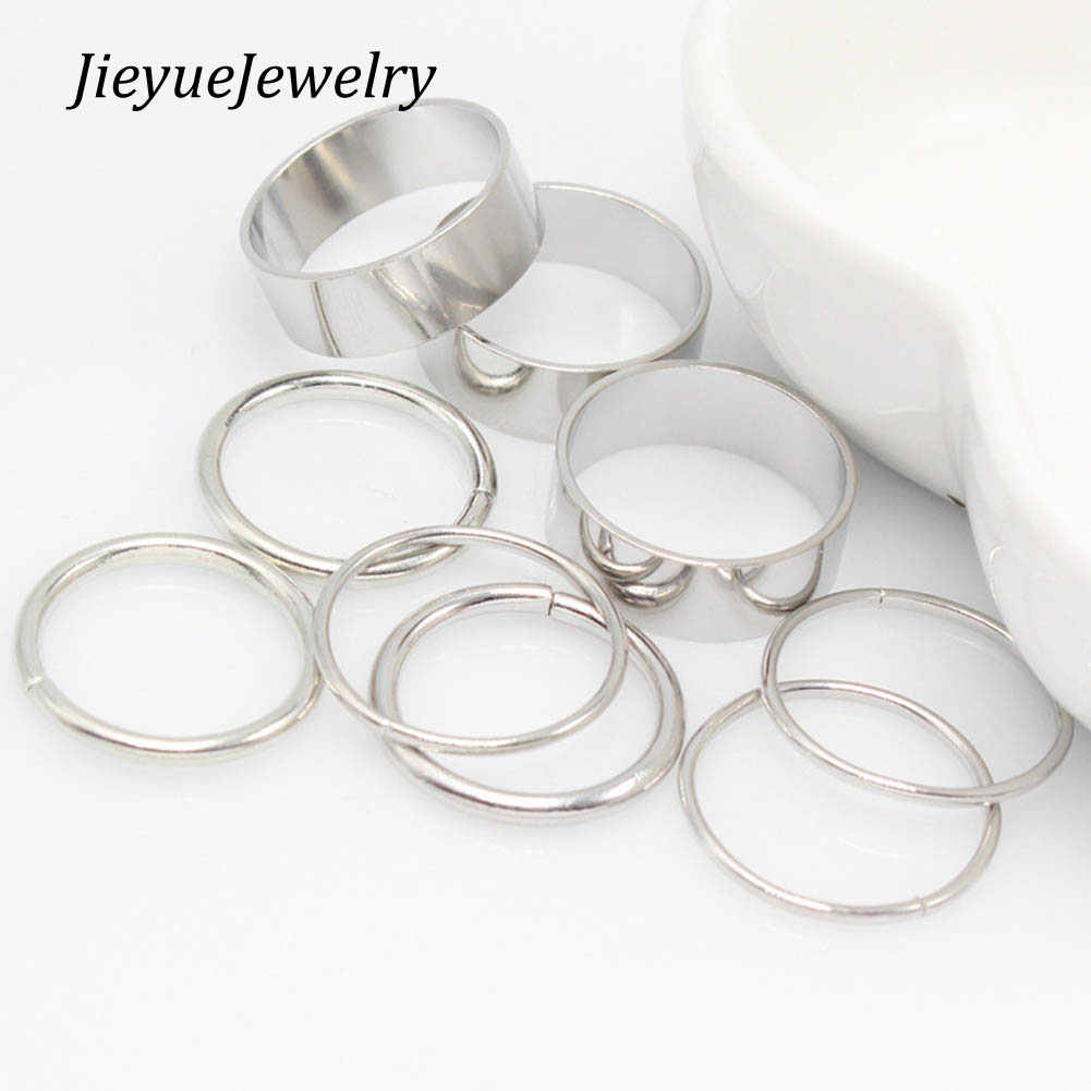 1 Set / 9 pcs Simple CLassic Smooth Wide Thin Ring Set Gold Silver Tone Fashion Ring Jewelry