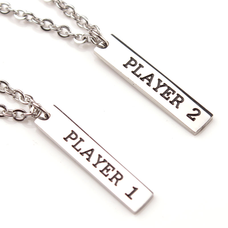 Player 1 Player 2 Couples Necklace Set Valentine's Day Gift For Girlfriend Boyfriend Gamer Video Game Couple's Necklaces