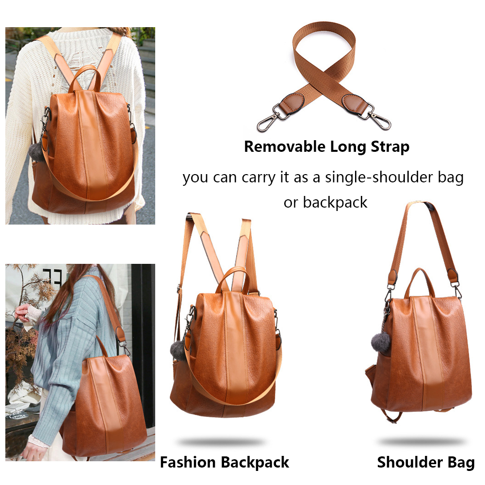 Image 3 - HERALD FASHION Quality Leather Anti thief Women Backpack Large Capacity Hair Ball School Bag for Teenager girls Male Travel Bags-in Backpacks from Luggage & Bags