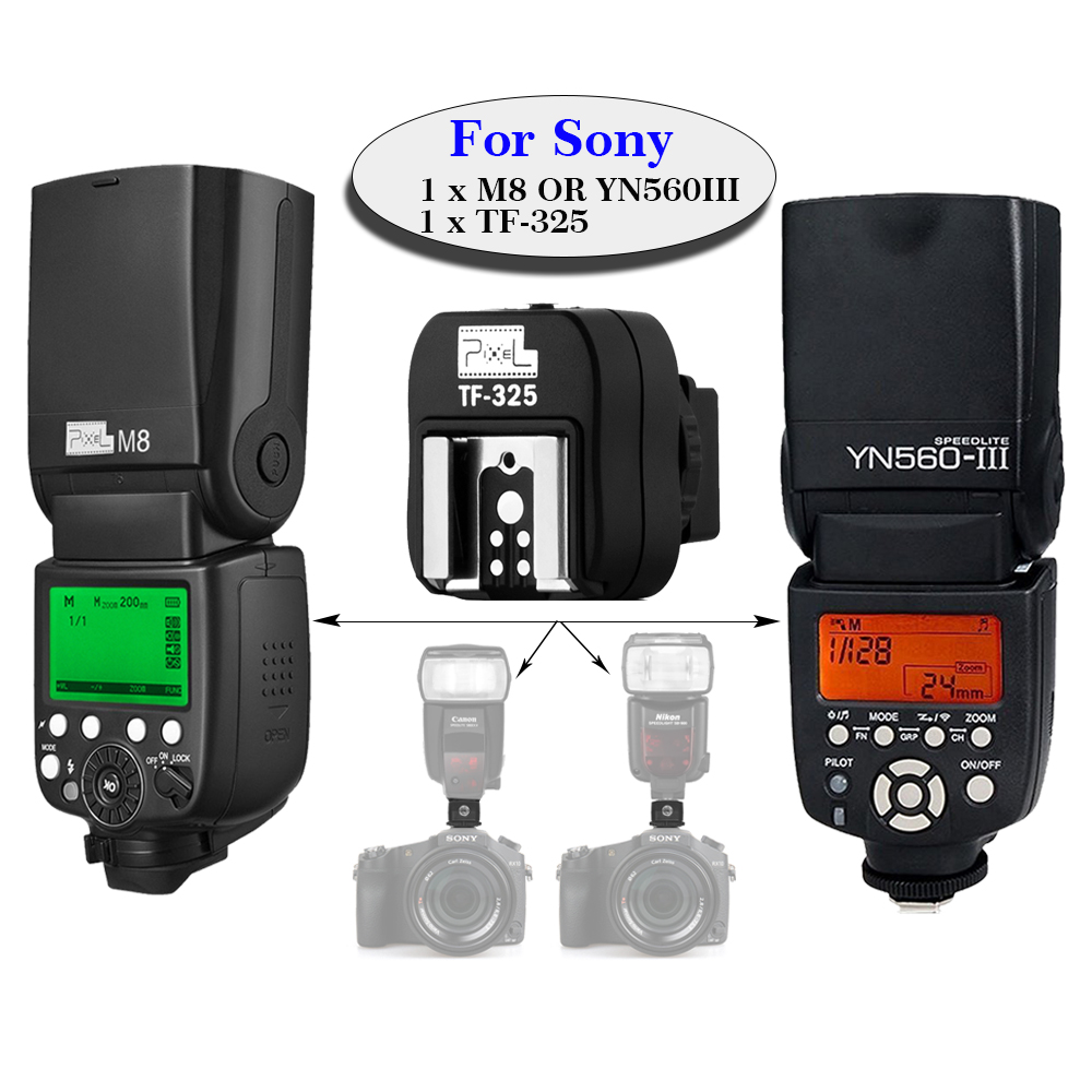 PIXEL M8 & YONGNUO YN560 III YN-560III Wireless Flash Speedlite +TF-325 Hot Shoe Adapter For Sony A65 A37 A77 A57 A300 A350 DSLR high speed mini hdmi to hdmi cable 1 5m for sony alpha a57 a77 a99 a65 a37 dslr digital camera free shipping