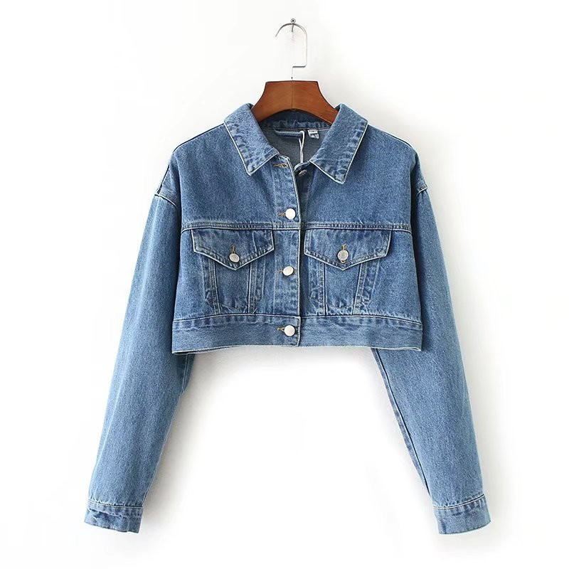 2018 spring new street style wind short high-waist denim jacket female, pure color wash short paragraph casual denim jacket Ms ...