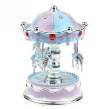 Plastic Merry-Go-Round Music Box with LED Flash Light for Kids Birthday Christmas Gift Wedding include battery