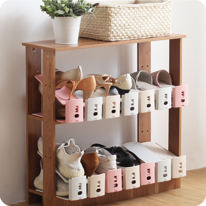 1 Piece Sy Shoe Slots 3 Step Adjule E Saver Organizer Rack Closet Double Plastic Storage Holder In Holders Racks From Home