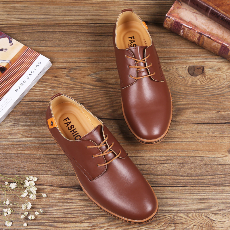 Freemaker Store 2017 New Fashion Men Shoes Leather Casual Lace up Brown Black Cheap Men Dress Shoes Oxford Men leather shoes free shipping