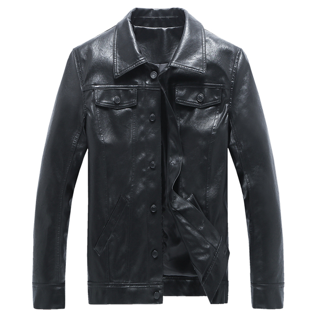 PU Leather Jacket Men Black Single Breasted Mens Suede Coat Casual Male Leather Jacket Short Tactical Motorcycle Jackets For Men