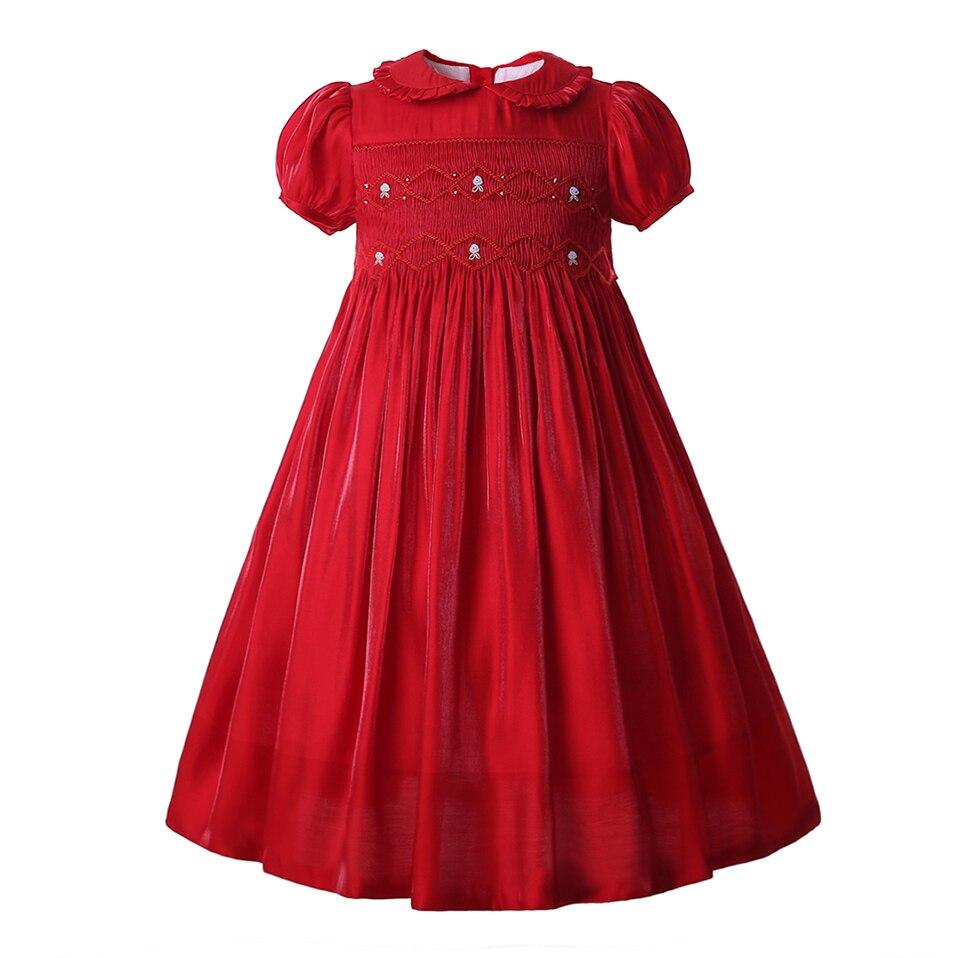 Girls Smocked Dress Christmas Jacket Coat Peter Collar Kids Winter Outwear 3-12Y
