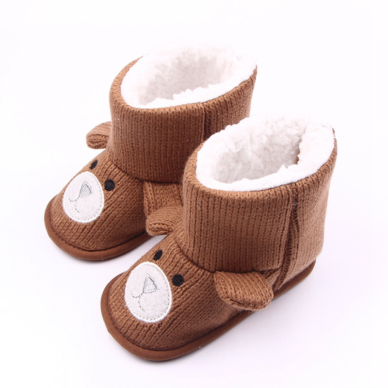 Cartoon Bear Baby Boots Knit Soft Sole Kids Snow Boots Baby Crochet Shoes