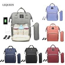 Bolsa de pañales con interfaz USB LEQUEEN, gran capacidad, impermeable, moda, momia, tienda de viaje, maternidad, mochila de lactancia, organizador de pañales