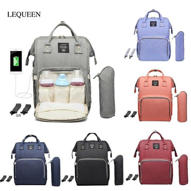 حقيبة حفاضات من LEQUEEN مزودة بواجهة USB ذات سعة كبيرة مضادة للماء حقيبة ظهر للأمهات مناسبة للسفر والمتاجر والحفاظات منظمة للحفاضات