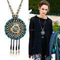 vintage beads turquoise  Bohemian jewelry long tassel necklace for women  handmade leather pendant  jewelry