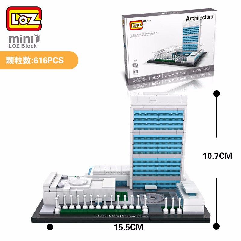 LOZ Mini Blocs Des Nations Unies Siege Jouet Brique En Plastique Celebre Batiment Maison Architecture Modele DIY Cadeaux Pour
