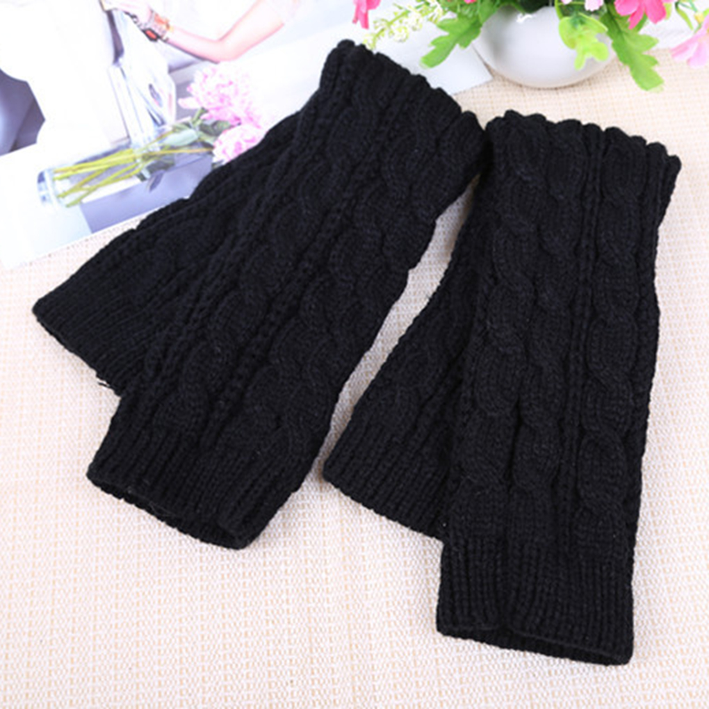 NEW 1 Pair Winter Women Girls Arm Gloves Long Half Knitted Arm Sleeves Riding Winter Mittens Sleeve