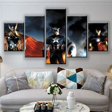 HD 5 Pieces Captain America Superheroes Marvel The Avengers Posters Printed Canvas Paintings Wall Art Prints Home Decor Frame
