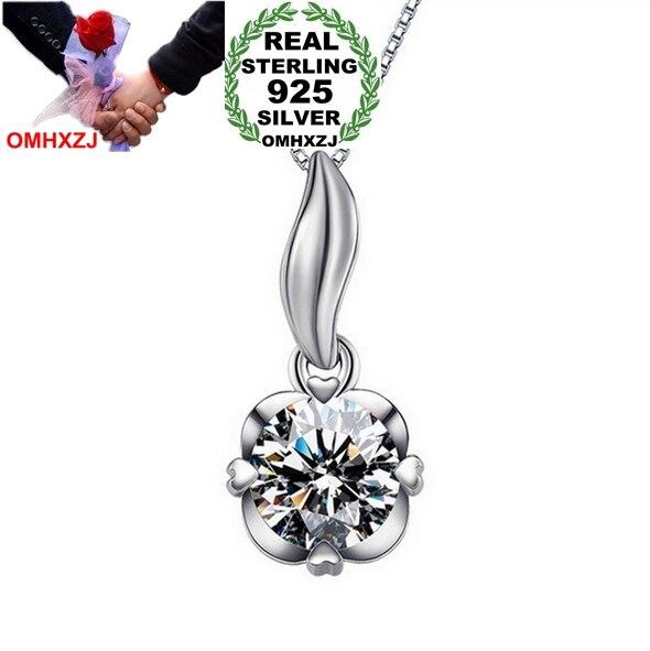 Omhxzj оптовая продажа ювелирных изделий сердце женские поп звезда моды AAA Циркон 925 серебро не цепь Цепочки и ожерелья подвеска Подвески PE16