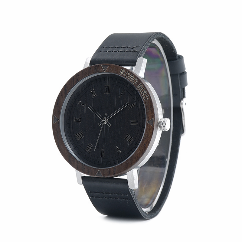 Image 3 - BOBO BIRD WK05 Mens Watch Rome Number Dial Face Soft Leather Band Japan Quartz 2035 Wristwatch Drop Shipping Accept OEM Relogio-in Quartz Watches from Watches