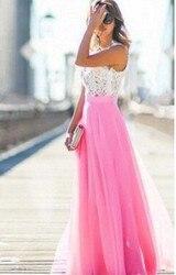 Koronkowa Sukienka szyfonowa Sukienka Party biuro Sukienka Maxi bez rękawów szata Longue Femme różowy żółty niebieski Vestidos Mujer kobiety ubrania 6