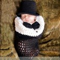 2017 Newborn Baby Photography Sleeping Bag Infant Sack+Hat Crochet Knitted Baby Sleeping Costume Photography Prop Accessories