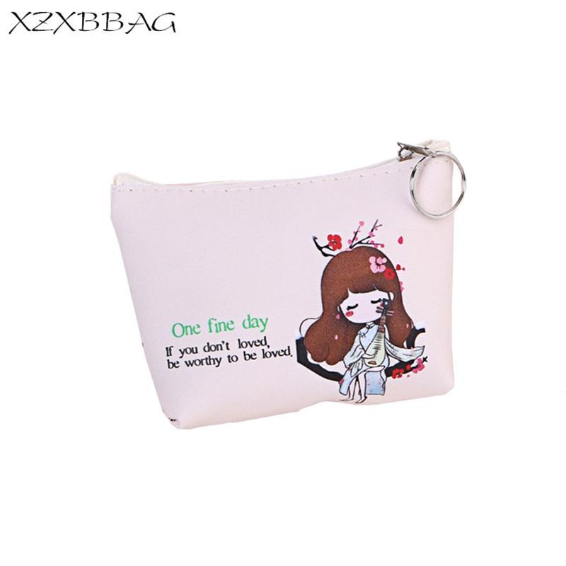 XZXBBAG PU Leather Women Coin Purse Cute Girl Casual Zipper Small Wallet Ladies Mini Wallet Kids kawaii Change Pouch Zero Wallet