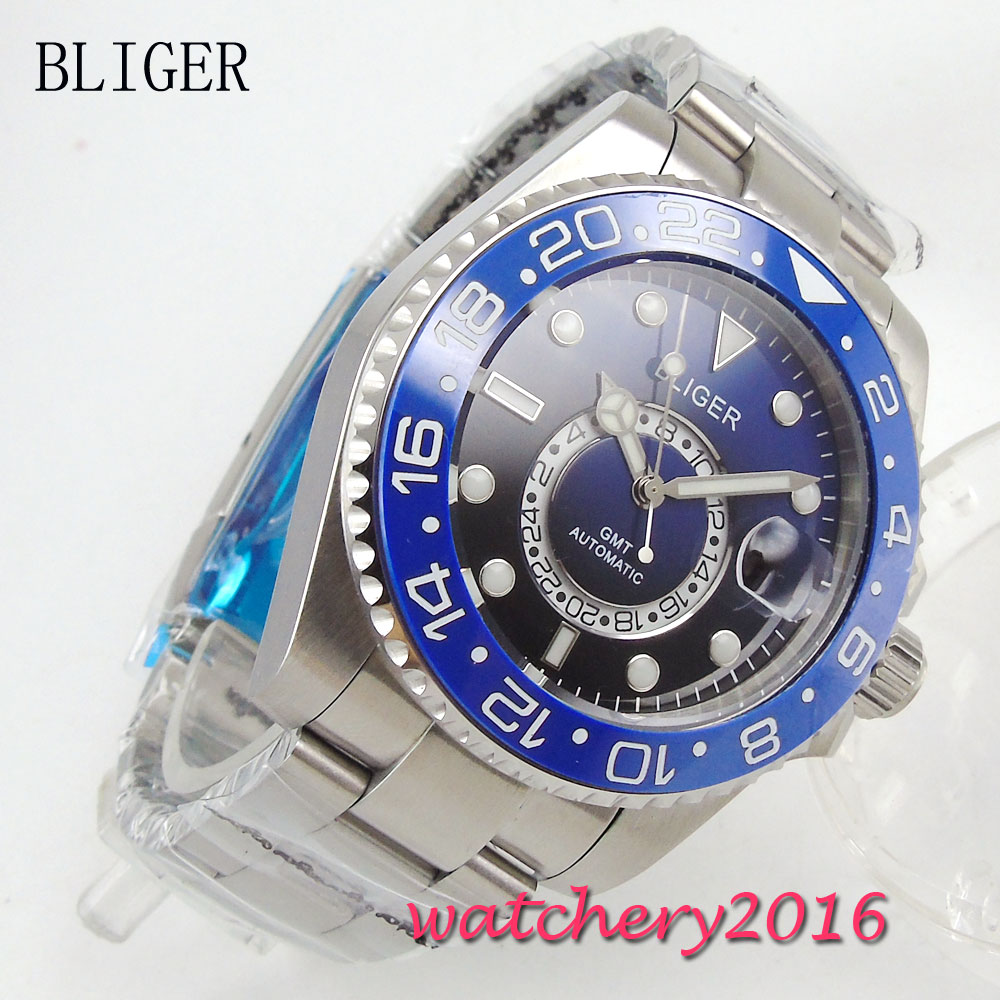 New 43mm Bliger Blue dial gmt Luminous Hands Sapphire Crystal Deployment Buckle Automatic movement Mechanical mens WristwatchNew 43mm Bliger Blue dial gmt Luminous Hands Sapphire Crystal Deployment Buckle Automatic movement Mechanical mens Wristwatch