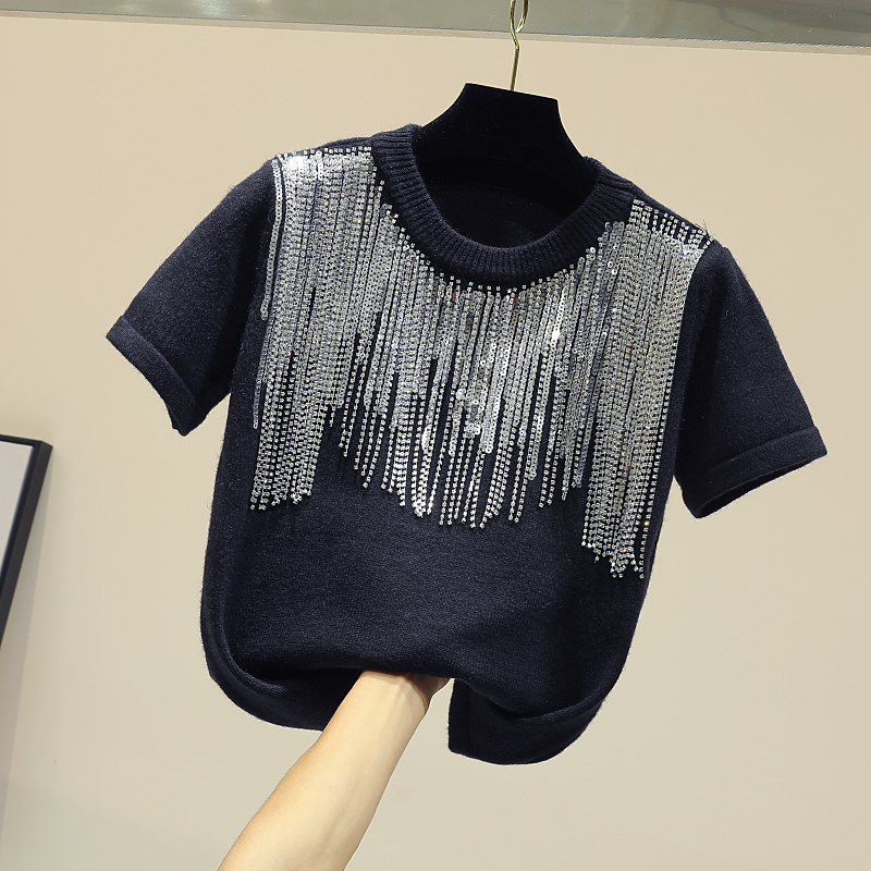 A Allentato Nuovo shirt Coreano Lavorato Ragazze Chic Frange Camicette Signore Il 2019 Del Top Di Addensato T Breve Lavoro Donna Delle Nero Primavera Crop Maglia Da Lunghe maniche zxvwWtRY