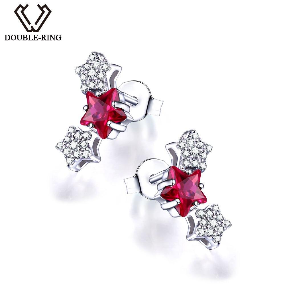 DOUBLE-R Belle Étoile Boucles D'oreilles Pour Filles 925 Sterling Argent Stud Avec Créé Ruby Rose Pierres Précieuses Bijoux