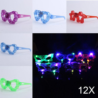 12pcs Lot LED Butterfly Glasses Flashing Light Party Glow Mask Christmas Halloween Gift Glow Blinking Glasses