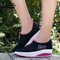 Hot Moda Mulheres Respirável Sapatos Casuais Rendas Até As Mulheres Sapatos de Plataforma Sapatos de Malha Das Mulheres Da Marca 2016 Zapatillas Mujer
