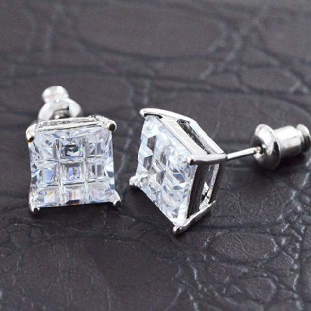 Princess Cut Square White Gold Filled Earrings Men Fashion Stud 5mm