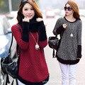 Mujer gran tamaño de cobertura coreano abrigo suéter de punto flojo yardas grandes párrafo largo suéter de las muchachas