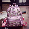 Diamond Backpack For Women Solid Color Teenage Girls Rivets Backpacks PU Leather Korean Bolsa
