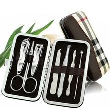 7pcs/pack Nail Clipper Kit Nail Care Pedicure Scissor Tweezer Knife Ear Pick Utility Manicure Set Tools Grid Patterned