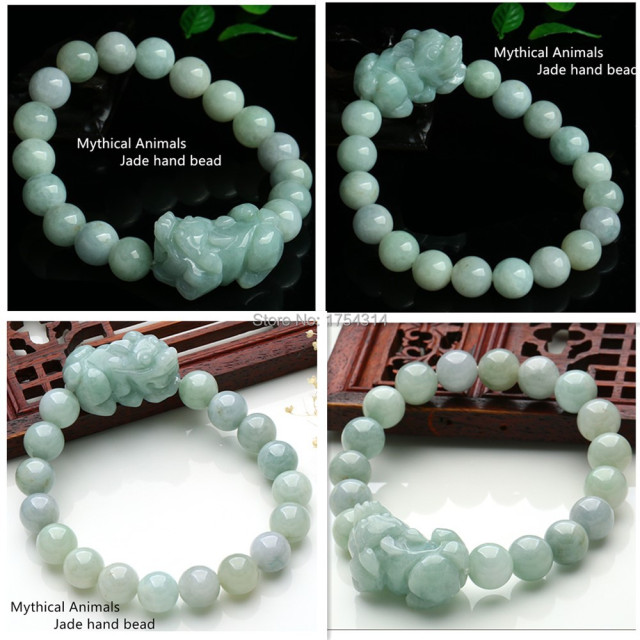 Burma A Cargo Jade Pi Xiu Beads Bracelet Hand On 10mm Bead