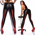 Fashion 2016 Low Waist Women Lacing Leggings Sexy Black and Red Knitted Gothic Matte Faux Leather Slimming Pants Plus Size
