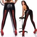 Moda 2016 Las Mujeres de Cintura Baja Cordón Leggings Sexy Negro y Rojo Mate de Cuero de Imitación Gótica Que Adelgaza Los Pantalones de Punto Más Tamaño