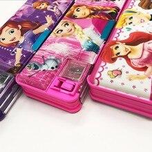 Продажа Disney princessautomatic Творческий Ящики для хранения канцелярских принадлежностей школьный пенал пластиковый Pencilcase