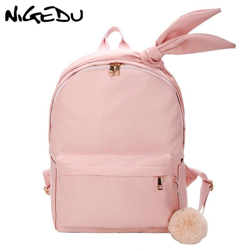 Waterproof Nylon Travel Backpack Female Large Capacity School Bags For Teenagers Girls Bowknot Backpack Women Daypack Bolsa Pink