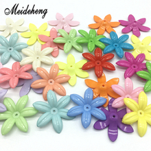 Acrylic Solid Light Color Spring Color Daisy Six Petals Flowers Beads For Jewelry Making DIY Handmade Accessory Children's Gift 30pc 31x28mm multi colorful acrylic flower beads big hole six petals frosted flowers beads for jewelry making garment accessory