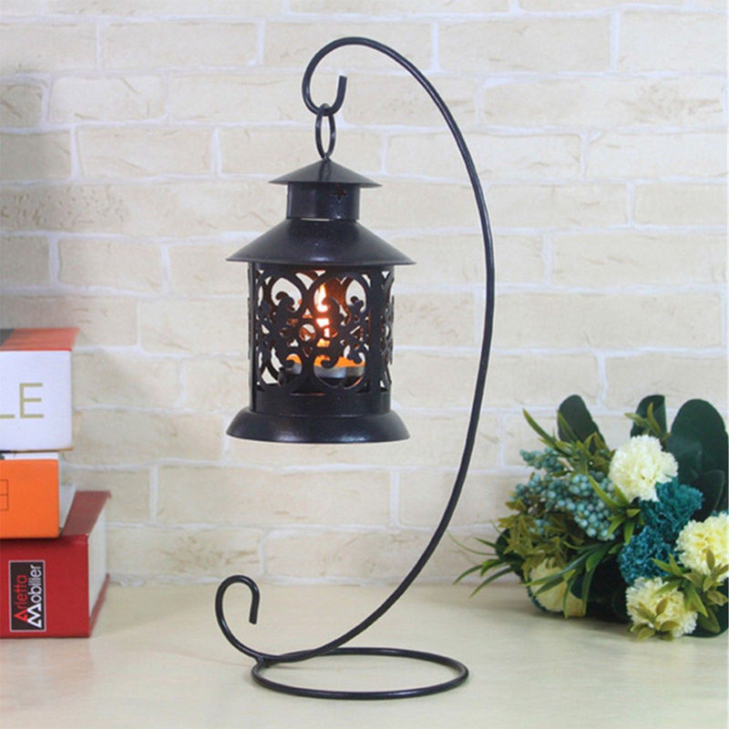 Iron Wedding Candle Holder Candlestick Glass Ball Lantern Hanging Stand Low Price P0.11 image
