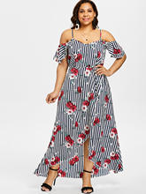 a1a588876108 Wipalo Women Plus Size 5XL Floral Belted Cold Shoulder Overlap Maxi Dress  Spaghetti Strap Half Sleeves A-Line Dress Vestidos
