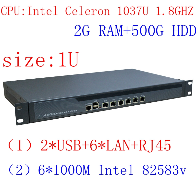 1037u Multi Gigabit Network Port Routing 1U High End Firewall Server With Intel PCI E 1000M 6*82583V 2G RAM 500G HDD