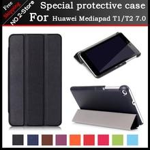 Moda ultra thin folio stand funda protectora para huawei mediapad t1/t2 7.0 pulgadas tablet, flip 3 plegable case para t1-701u