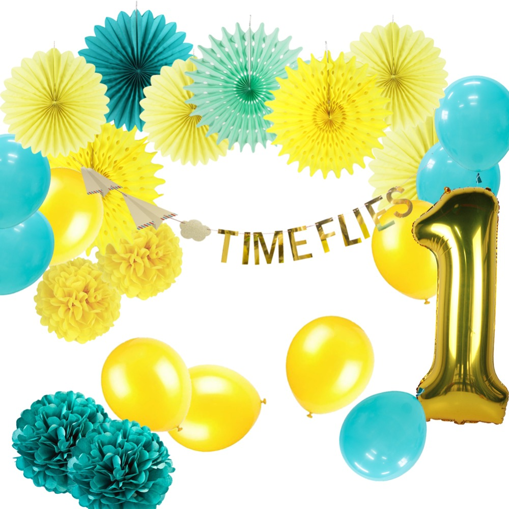 Birthday Party Decorations Kids Boy 1st Blue Green Yellow pompoms ...